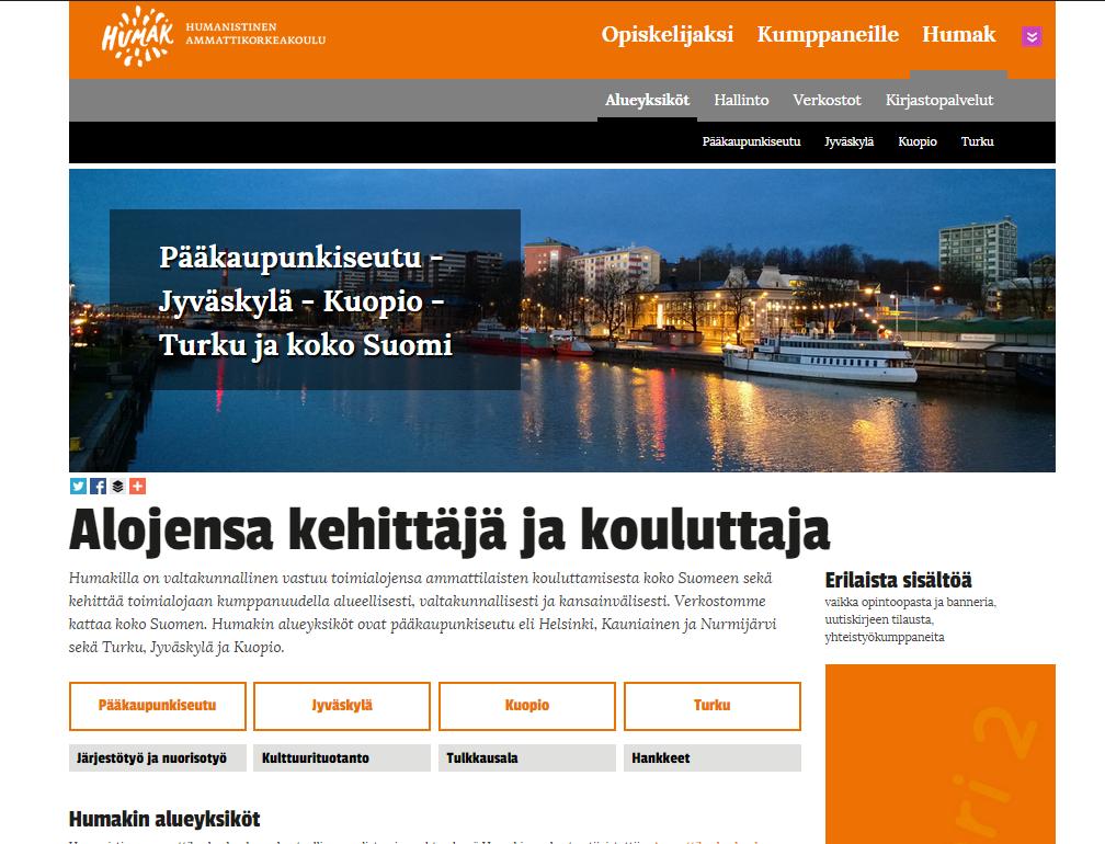 Kuvakaappaus Humak.fi:stä