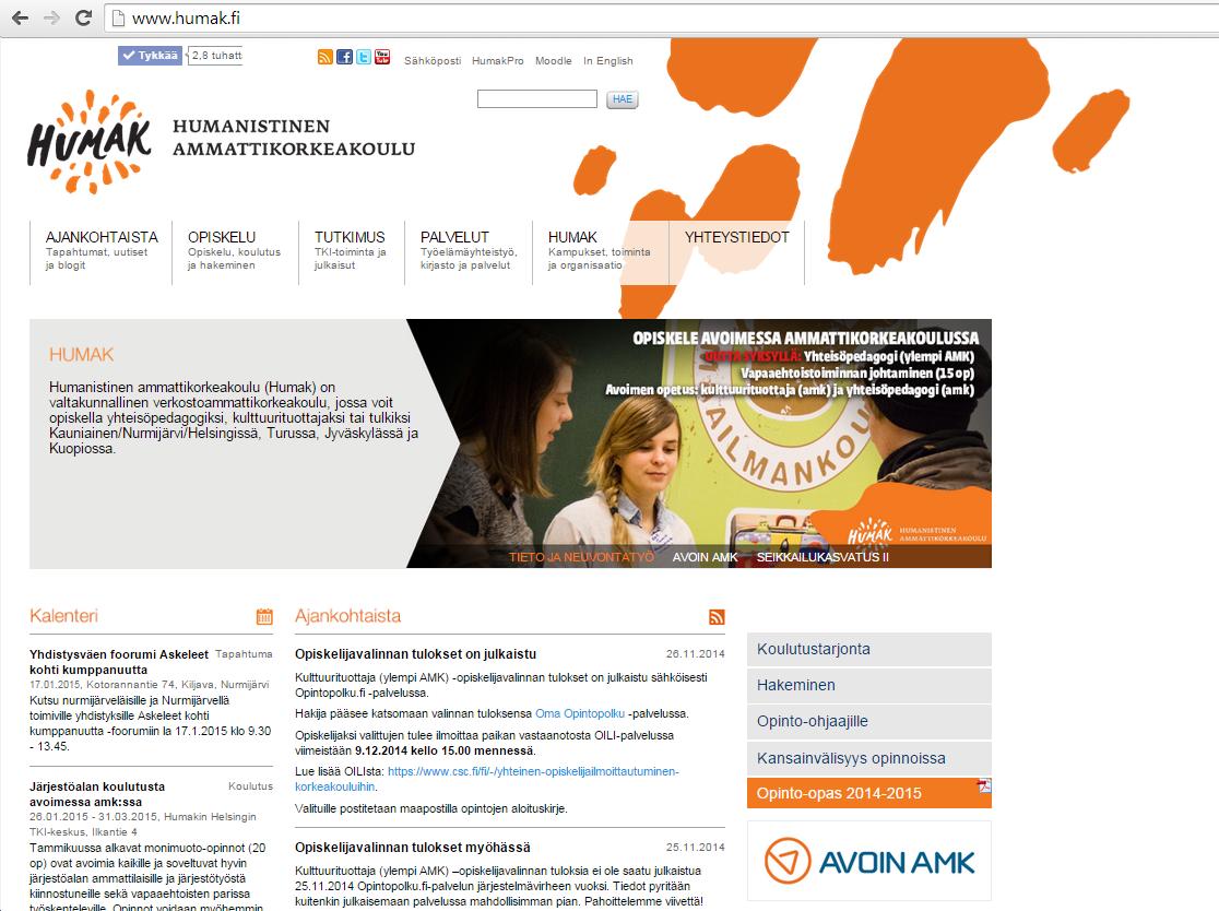 Humak.fi vanhat verkkosivut